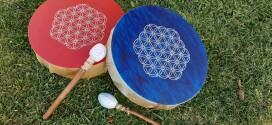 Tamburo Sciamanico in pelle di capra di 40 cm con disegno a mano del Fiore della Vita